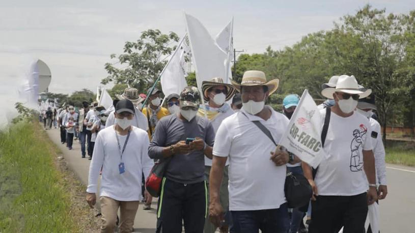 Exguerrilleros colombianos en peregrinación por la paz Bogotá. Prensa Latina