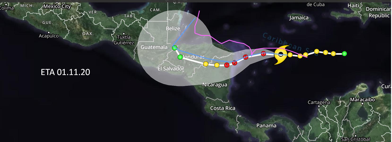 Así han sido las trayectorias de los huracanes Juana, Mitch, Félix, Otto y Nate San José. Radio La Primerísima