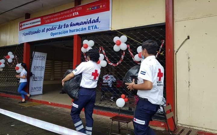 Cruz Roja habilita centro de acopio para afectados por ETA Managua. Douglas Midence/Radio La Primerísima