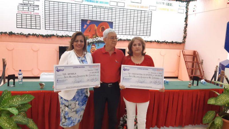 Lotería entrega para obras sociales 232 millones de córdobas Managua. Radio La Primerísima