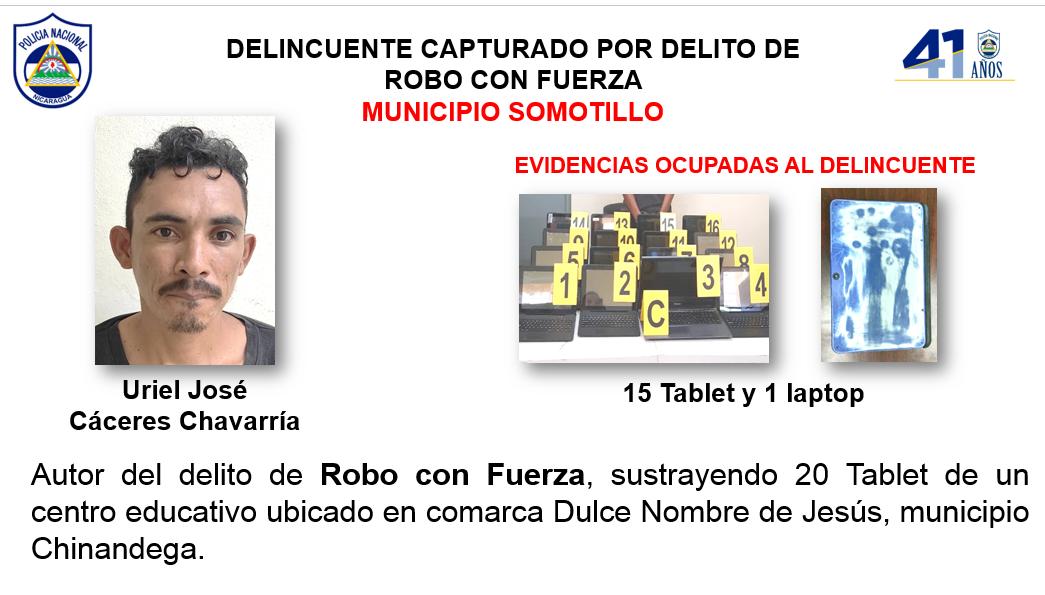 Capturan a sujeto que robó en colegio de Somotillo Managua. Por Jerson Dumas/Radio La Primerísima