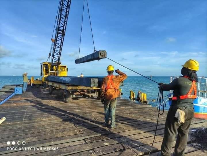 En etapa final reconstrucción del muelle en Bilwi Managua. Libeth González/Radio La Primerísima
