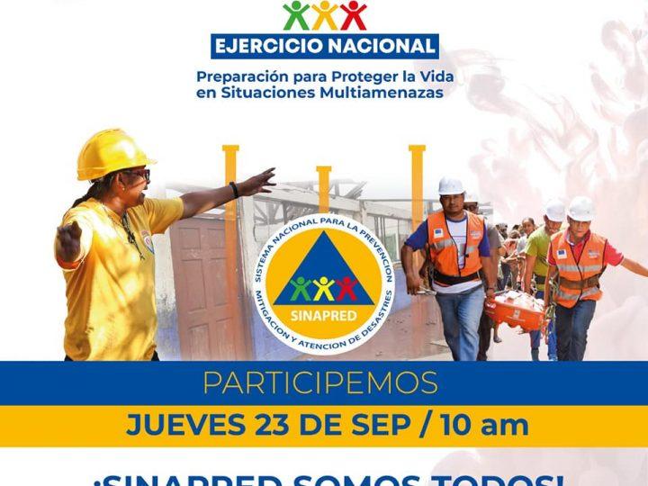 Tercer simulacro multiamenazas se realizará el 23 de septiembre