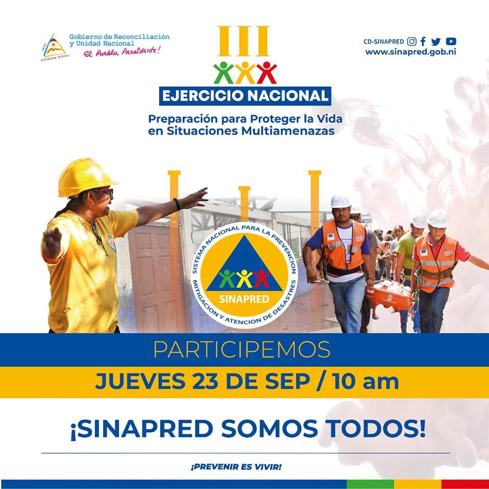 Tercer simulacro multiamenazas se realizará el 23 de septiembre Managua. Radio La Primerísima