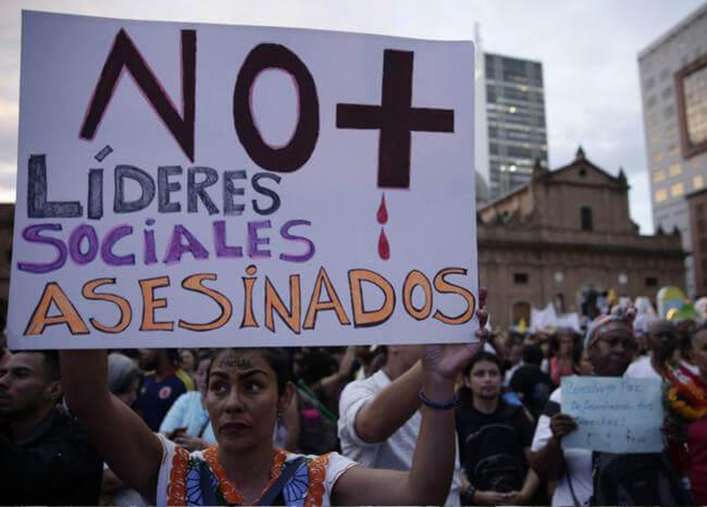 Reportan 116 líderes sociales asesinados en Colombia Bogotá. Agencia EFE